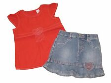 Completo gonna jeans top casacca rosso maglia OLD NAVY bimba bambina 2/3 anni