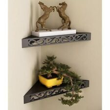 Onlineshoppee MDF Decorative Wall hanging Shelves wall corners - Set of 2 Black
