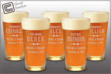 Groomsman Gift Engraved Personalized Beer Pint Glass, Wedding Bridesmaids