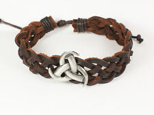 Viking Leather Bracelet, Wristband, with Horns of Odin Feature