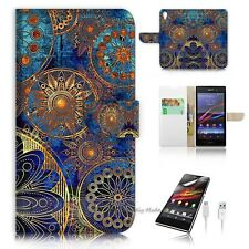 Sony Xperia Z5 Flip Wallet Case Cover! S8500 Abstract Flower
