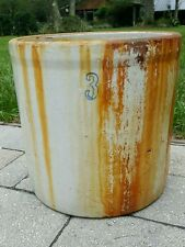 "VINTAGE SHABBY RUSTY  PRIMITIVE 3 GALLON STONEWARE CROCK   10.5"" STORE Decor"