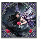 "Anne Stokes Small Art Tile: ""Rose Fairy"" Gothic Fairy with Purple Wings"