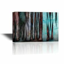 wall26 - Canvas Wall Art - Abstract Mysterious Trees in the Mist - 24x36 inches