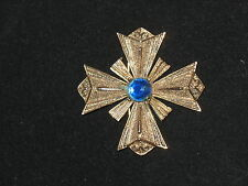 VTG Hattie Carnegie Heraldic Maltese Cross Brooch Gilt Metal Blue Glass Stone