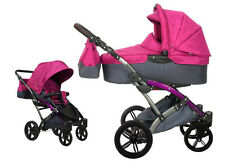 Knorr Baby 2in1 Kinderwagen Voletto Sport schwarz-pink viel Zubehör 3100-02