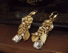 Vintage Pearl, Matt Seed Beads & Crystal Drop Earrings. Miriam Haskell Style