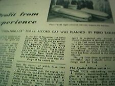 ephemera 1949 article piero taruffi twin fuselage 500 cc record car