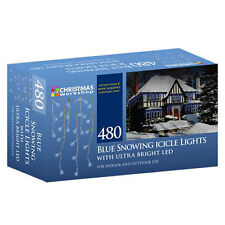 480 Snowing Icicle Ultra Bright LED Lights Christmas Indoor Outdoor White Blue