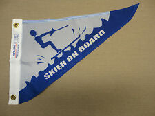 "Skier On Board Indoor Outdoor Nylon Wall Boat Pennant Grommets 10"" X 15"""