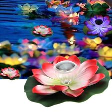 Romantic Solar Power LED Floating Night Light Lotus Flower for Garden Pool Decor