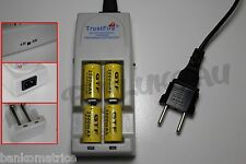 4 PILES ACCUS RECHARGEABLE CR123A 16340 3.7V 2500mAh + CHARGEUR TR-001 TRUSTFIRE