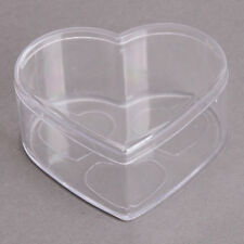1x Clear Heart Shape Plastic Jewelry Craft Gift Display Storage Case Container C