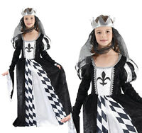 Childrens Chess Queen Fancy Dress Costume Medieval Girls Kids Outfit 3-13 Yrs