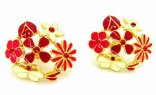 New Red White Enamel Flower Ladybird Ladybug Butterfly Earrings