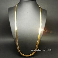 "24K Yellow Gold Filled 27"" Men Women Deluxe Crub Necklace FN3061"