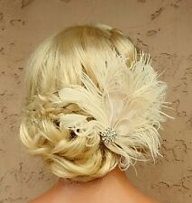 Wedding Fascinator, Bridal Hair Clip, Ivory Feather Fascinator,Wedding Comb NEW