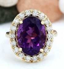 8.40CTW NATURAL AMETHYST AND DIAMOND RING IN 14K SOLID YELLOW GOLD