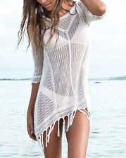Women's Sexy Crochet Bikini Cover Up Bathing Suit Swimwear Beach Dress White