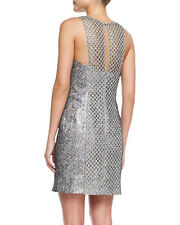 NWT Phoebe by Kay Unger Sleeveless Net Overlay Cocktail Metallic Mesh Dress 8
