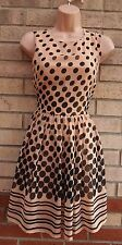 PRIMARK DUSTY PINK BLACK SPOTTY POLKA DOT SKATER FLIPPY A LINE TEA DRESS 10 S