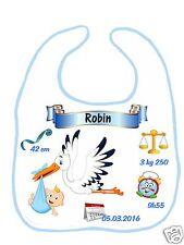 Bavoir bébé blanc bordure bleue réf G19 personnalisé avec prénom