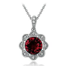 Silver Tone Red & Clear Swarovski Elements Halo Flower Necklace