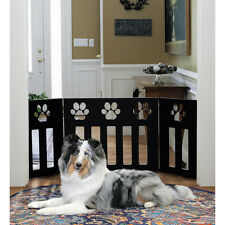 Pet Dog Gate - Paw Print Wooden Black Fence Barrier