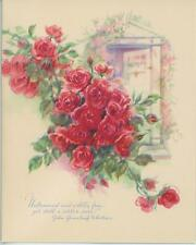 VINTAGE GARDEN WILD PINK RED ROSES BUSH POEM PRINT 1 KITTEN CAT ROSE QUILT CARD