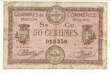 BILLET 50 CENTIMES   CHAMBRE DE COMMERCE DE MACON / BOURG