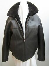 Men's Size 42 Brand New Reversible Brown Leather Jacket with Sheared Beaver Fur