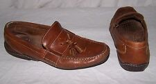 Men's size 11 5933 ROCKPORT Brown Leather Slip On Boat Shoes Tassels