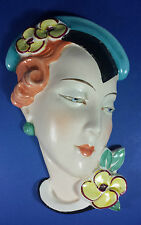 QUALITY CERAMIC ROYAL DUX - BEAUTIFUL ART DECO WALL MASK 1930s
