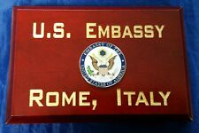 "U.S. Embassy Rome, Italy Cherry Wood Beveled Edge 4"" Tall X 6"" Wide MADE IN USA"