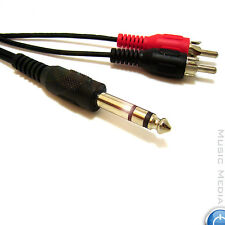 "Insert Lead 1/4"" 6.35mm Stereo Jack Audio Y Cable Stereo to Two RCA Phono 5M"