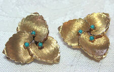 Vintage Signed Jomaz Clip Back Earrings Goldtone Leaves Tiny Turquoise Beads