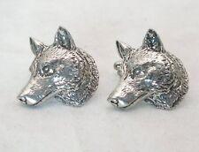 Wolf Head A66 Fine English Pewter Animal Cufflinks Handmade In Sheffield