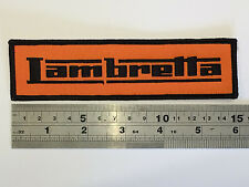 Lambretta Large BAR (BLACK Border/Text) Patch - Embroidered - Iron or Sew On