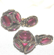 STUNNING CROWN TRIFARI SIGNED JEWELED RUBY RED LONG DANGLE EARRINGS EXCELLENT