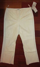 BAGATELLE white leather floral perforated sides no pockets  pants size 18 NWT
