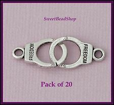 20 Antique Silver Colour 17 x 11mm Interlinked Double 'FREEDOM' Handcuff Charms