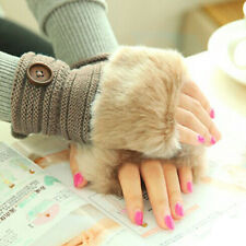 Hot Women Warm Winter Faux Rabbit Fur Wrist Fingerless Gloves Mittens Free P&P
