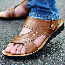 New Men's Leather Fisherman Sandals Summer Beach Shoes Anti-slip Slippers Sports