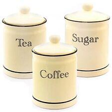 SET 3 CREAM CERAMIC TEA COFFEE SUGAR CANISTERS STORAGE CADDIES JARS  LEONARDO