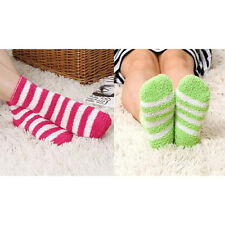 Women Girls Winter Bed Socks Solid Fluffy Warm Soft Thick Home Candy Color MW