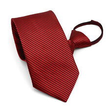 Lazy Men's Zipper Necktie Solid Casual Business Wedding Slim Zip Up Neck Tie
