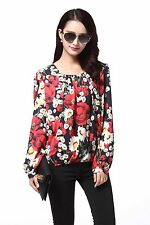 Women's Poppy Flower Print Chiffon Blouses Size UK16
