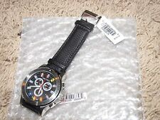 NEW NWT *NAUTICA* Men's Watch N19595G Chronograph $195 Flags Black Leather