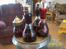 Cruet Set Antique Bohemian Ruby Etched Glass R. Strickland Silver Plate