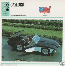 FICHE AUTOMOBILE GLACEE US USA CAR GAYLORD 1955-1956